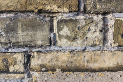 Old brick vintage wall texture. Yellow bricks closeup wall vintage Royalty Free Stock Images