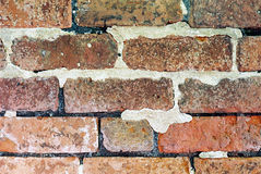 Old Brick Wall. With missing mortar Royalty Free Stock Photo