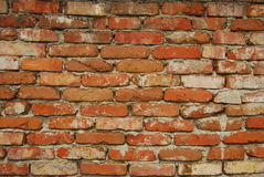 Old brick wall. Background of old discolored and weathered brick wall Royalty Free Stock Images
