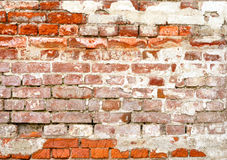 Old Brick Wall. Fragment of old brick wall with white stucco Stock Photography