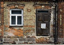 Old brick wall. Old brick Polish house (Bialystok, Poland Stock Photography