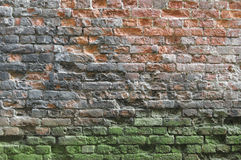 Old brick wall. Brick wall, mouldy with fire traces Royalty Free Stock Image