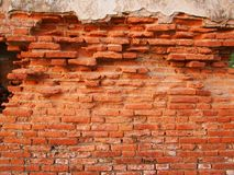 Old brick wall. In an abandoned church stock photos