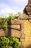Old Brick Wall. Old and ancient brick wall with ornate and ivy Stock Photography