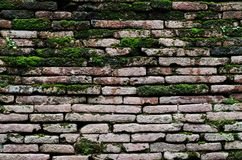 old brick wall in Ancient temple. Stock Photo