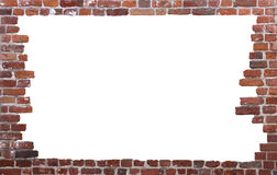 Old brick wall as a frame 01. Old brick wall as a grungy frame, isolated on white background in the centre stock photo