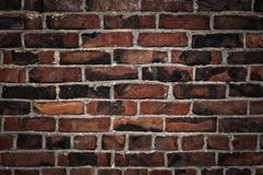 Old dark retro brick wall background night. Old brick wall background dark night Stock Images
