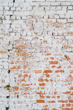 Old brick wall. Background of old dirty red brick wall with peeling plaster Stock Image
