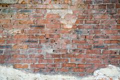 Old brick wall background with fragments of old plaster. Backgrounds graphic design  textures stock image