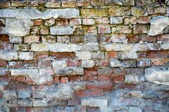 Old brick wall background with fragments of old plaster. Backgrounds graphic design  textures royalty free stock photos
