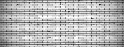 Old brick wall background with vignette in grey colors. Vector brick wall texture stock illustration