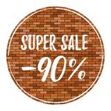 Old brick wall background with vignette. Vector brick wall texture with super sale 90 off. royalty free illustration