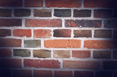 Old brick wall background. Weathered stained old brick wall background Royalty Free Stock Photos
