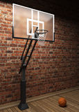 Old brick wall and basketball Stock Photo