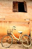 Old brick wall with Bike Stock Image