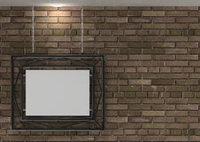 Old brick wall with blank frame Royalty Free Stock Images