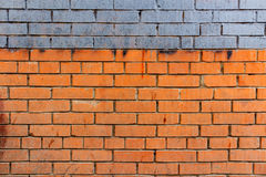 Old brick wall with blue stripe and dirty spots. Abstract background royalty free stock images