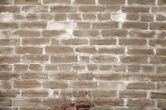 Old  brick wall with brown stucco, background texture Royalty Free Stock Image