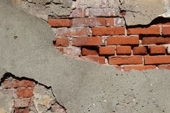 Old brick wall. And cement Royalty Free Stock Images