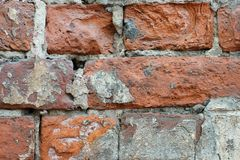 The old brick wall collapses royalty free stock photo