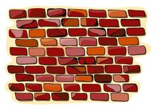 Old brick wall. Colorful doodle vector illustration Stock Photography