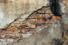 Old brick wall with cracked background Stock Images