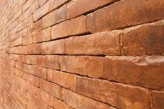 Old brick wall with diminishing perspective Stock Images