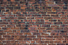 Old brick wall. Old, dirty and cracked brick wall as the background royalty free stock photos