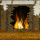 Old brick wall with a fireplace and floor in perspective. Free background old brick wall with a fireplace and floor in perspective. You can use text or image Stock Image