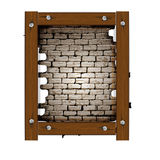 Old brick wall frame with wooden boards. Vector illustration of an opening in the old brick wall frame with wooden boards. Isolated object on a white background Stock Images