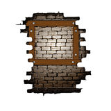 Old brick wall frame with wooden boards. Vector illustration of an opening in the old brick wall frame with wooden boards. Isolated object on a white background Stock Photos