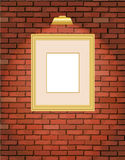 Old brick wall with gold frame Stock Photography