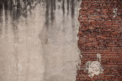 Old Brick Wall, Half-plastered With Copy Space. Stock Photography
