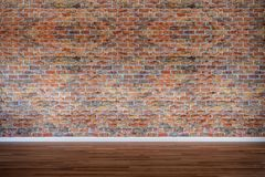 Old brick wall with hardwood floor, vintage, retro. Weathered, backdrop, high contrast, background stock photography