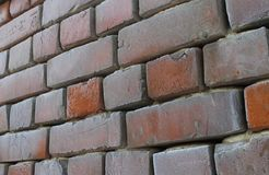 Old brick wall in hoarfrost royalty free stock photography
