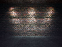 Old Brick Wall Illuminated By Spotlights Royalty Free Stock Photos