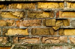Old brick wall. Industrial background, empty grunge urban street with warehouse brick wall, natural light, copy space royalty free stock images