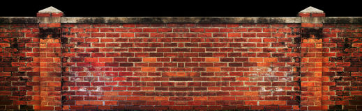 Old brick wall isolated black Royalty Free Stock Photo