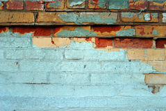Old brick wall with many colors. The old brick wall with many colors: green, blue, yellow, red Stock Photography