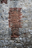 Old brick wall. In medieval castle Royalty Free Stock Photo