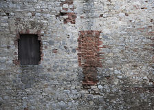 Old brick wall. In medieval castle Royalty Free Stock Images