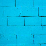 Old brick wall painted with blue paint Royalty Free Stock Photo