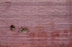 An old brick wall painted pink and decaying. Paint peeling. Stains showing Royalty Free Stock Images