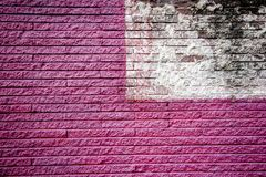 Pink and white brick walls stock image