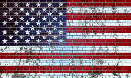Old brick wall painted in the US flag Stock Photo