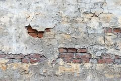 Old brick wall with the peeled plaster Stock Photography