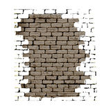 Old brick wall with plaster white background Stock Photos