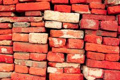 Blick Wall. Old Brick Wall red disorganized Stock Image
