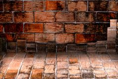 Old brick wall room,Perspective. Stock Images