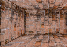 Old brick wall room,Perspective. Stock Image